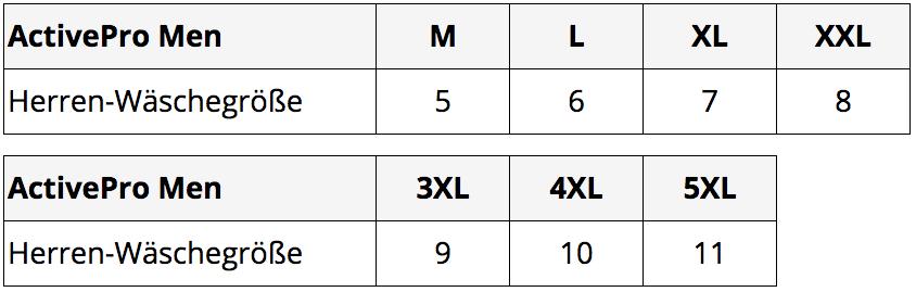 activepro men groessentabelle m-5, l-6, xl-7, xxl-8, 3xl-9, 4xl-10, 5xl-11