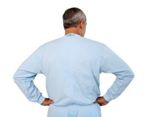 Pflegeoverall für Männer hellblau hinten