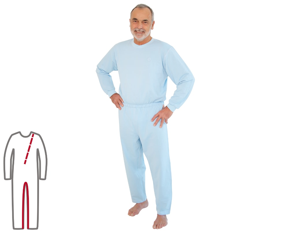Pflegeoverall für Herren Bein- und Rückenreißverschluss blau vorne